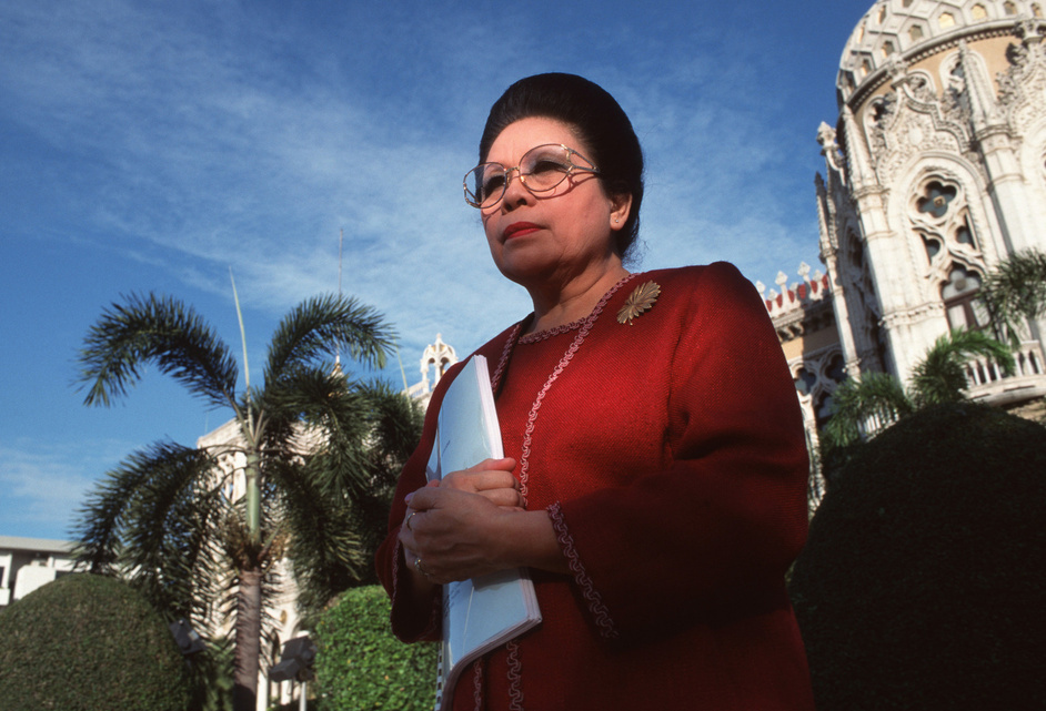 Saisuree Chutikul, a Senator of the Thai Government and Chairperson of the Sub-committee on the Elimination of Trafficking in Women and Children National Youth Bureau, poses outside a Government House in Bangkok.